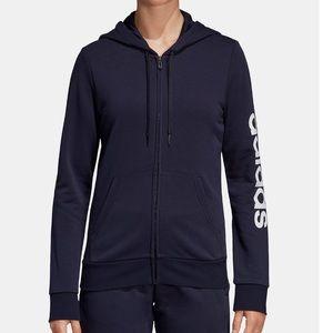 Adidas Essential Linear Hoodie Track Jacket Navy L